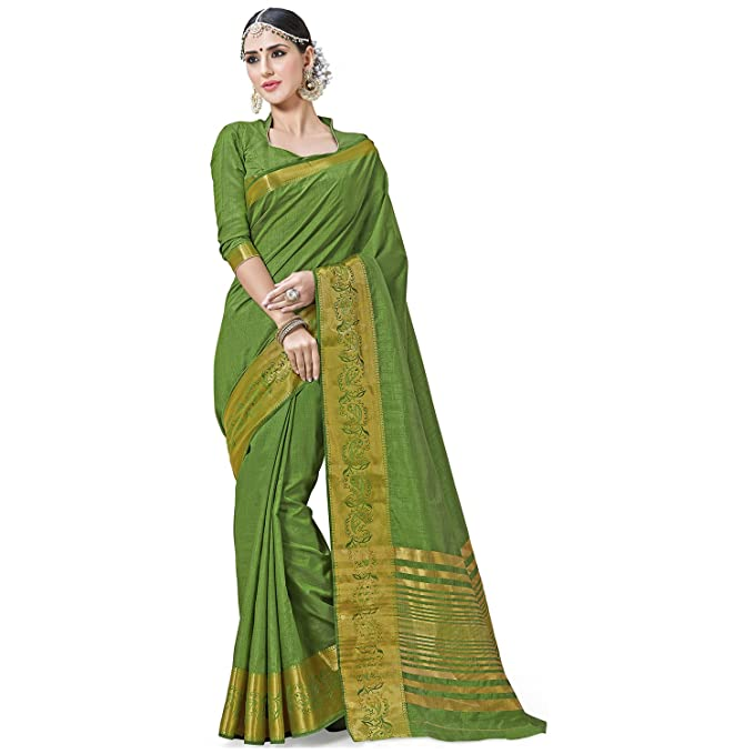 e80d420cdee Ashika Designer Parrot Green Tussar Silk Saree for Women With Blouse Piece   Amazon.in  Clothing   Accessories
