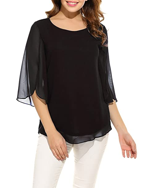 d143edfff13fc Oyamiki Women s Summer Layered Crew Neck Pleated Soft Chiffon Blouse Tops  Black S