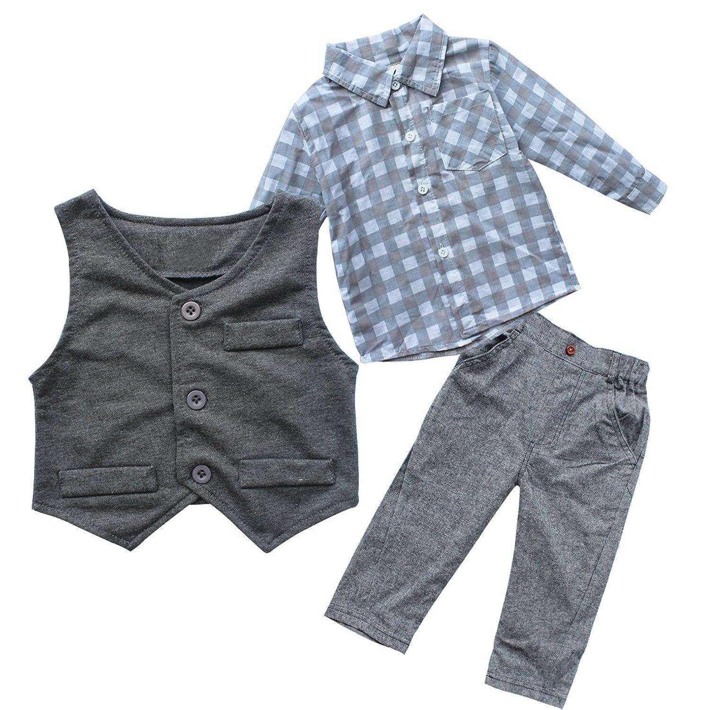 Amazon TIAOBU Baby Boy Gentleman Grey Waistcoat Pants