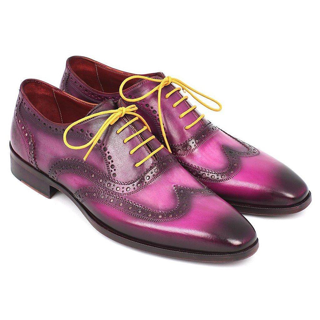 - Paul Parkman Men's Wingtip Oxfords purplec Handpainted Calfskin