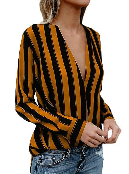 Simple-Fashion Primavera y Otoño Mujeres Blusa Joven Moda Rayas Camisas Tees Shirts Sexy Cuello V Camisetas de Manga Larga Tops: Amazon.es: Ropa y ...