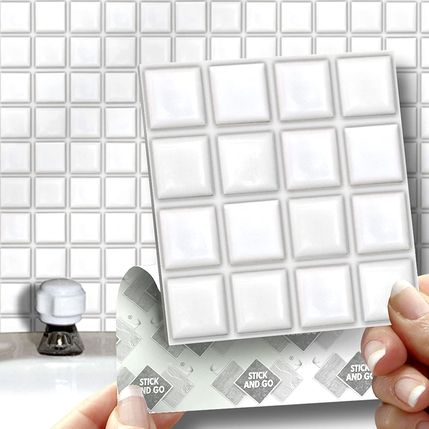 Stick on wall tiles bathroom - 18 White Mosaic Effect Wall Tiles 2mm Thick And Solid Self Adhesive Stick On Wall Tile Stickers Transfers 18 Tiles Per Box 4 X 4 10cm X 10cm No