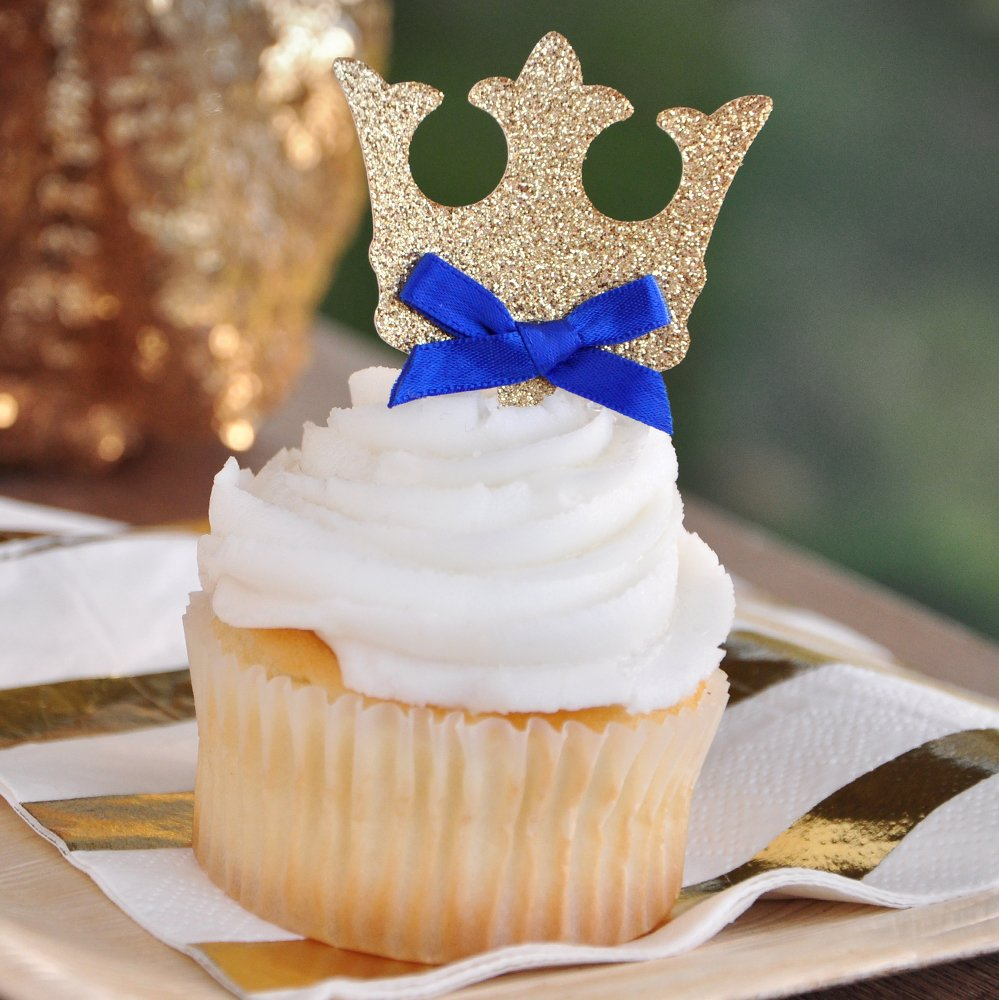 Crown Cupcake Toppers. Royal Prince Baby Shower Decorations. 12CT.