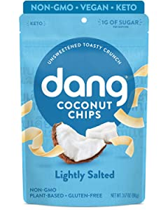 DANG Keto Toasted Coconut Chips | Lightly Salted Unsweetened | 4 Pack | Keto Certified, Vegan, Gluten Free, Paleo Friendly, Non Gmo, Healthy Snacks Made With Whole Foods | 3.17 Oz Resealable Bags