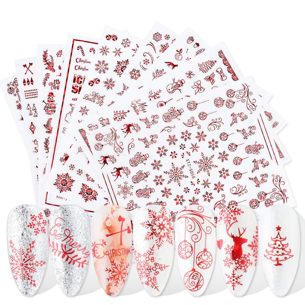 3D Christmas Nail Stickers Nail Art Supplies Red Holiday Xmas Nail Decals Self-Adhesive Christmas Nail Art Stickers Santa Claus Tree Snowflake Bell Snowman Nail Designs for Christmas Decor (9 Sheets)