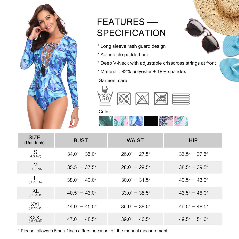MarinaVida Women One Piece Long Sleeve Swimsuit Deep V Neck Bathing Suit