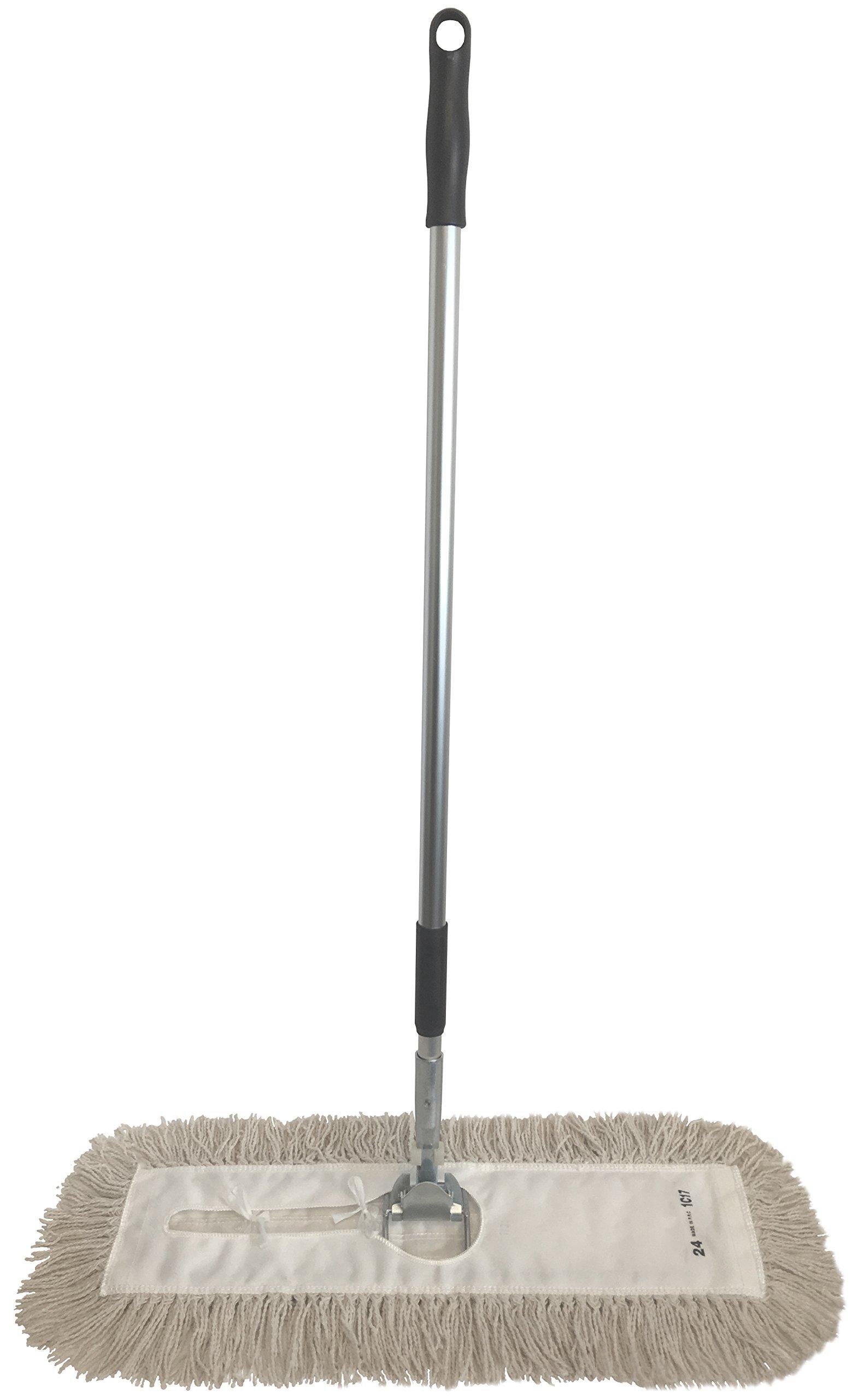 Dust Mop Kit 24'' : (1) 24'' White Industrial Closed-Loop Dust Mop, (1) 24'' Wire Dust Mop Frame & (1) Dust Mop Handle Clip-On Style