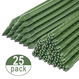 BTSD-home Garden Stakes 6 FT Steel Plant Stakes, Pack of 25