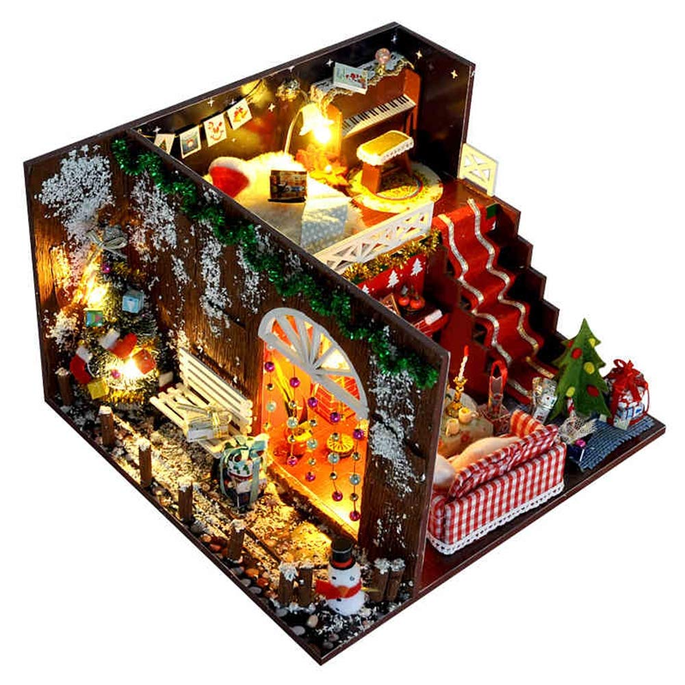 CMDDYY Handmade Regalo di Compleanno Cottage DIY-Ragazze Creative Natale Regalo assemblato casa Modello Puzzle Bambini Giocattoli,A