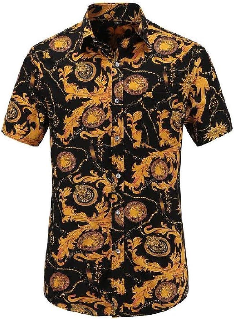 Sebaby Mens Flyaway Regular-Fit Comfy Printed Short Sleeve Work Shirt