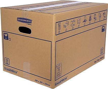 Bankers Box 6208201 Pack 10 Cajas de Cartón con Asas para Mudanzas, Almacenaje y Transporte Ultraresistentes, 45 Litros, Canal Doble Reforzado, 50 x 30 x 30 cm/Talla L: Amazon.es: Oficina y papelería
