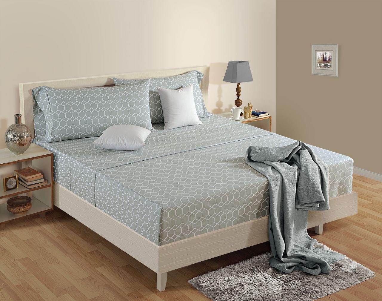 Black Friday Deals - Organic Cotton Full Size Sheet Set Silver Frette Pattern