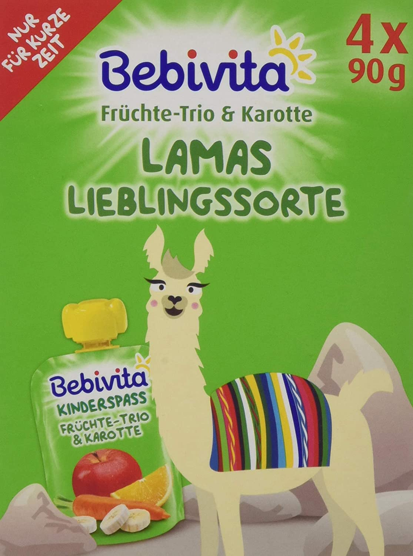 Bebivita Kinder-Spaß Früchte-Trio & Karotte, 4er Pack (4 x 4 x 90 g) 1412-F