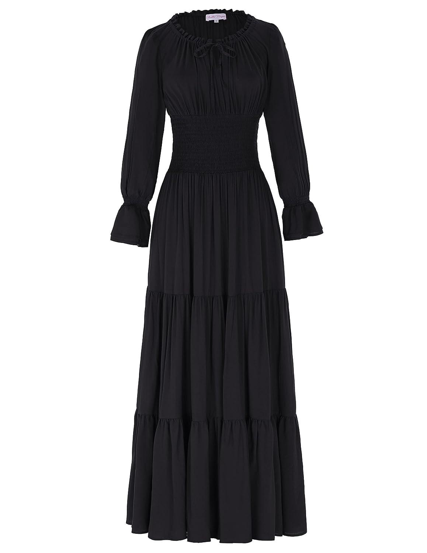 Yafex Victorian Gothic Renaissance Maxikleid Empire Kleid Stretch Tailliert Kleid