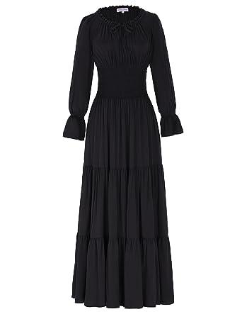 Belle Poque Women Long Sleeve Renaissance Pleated Maxi Dress At