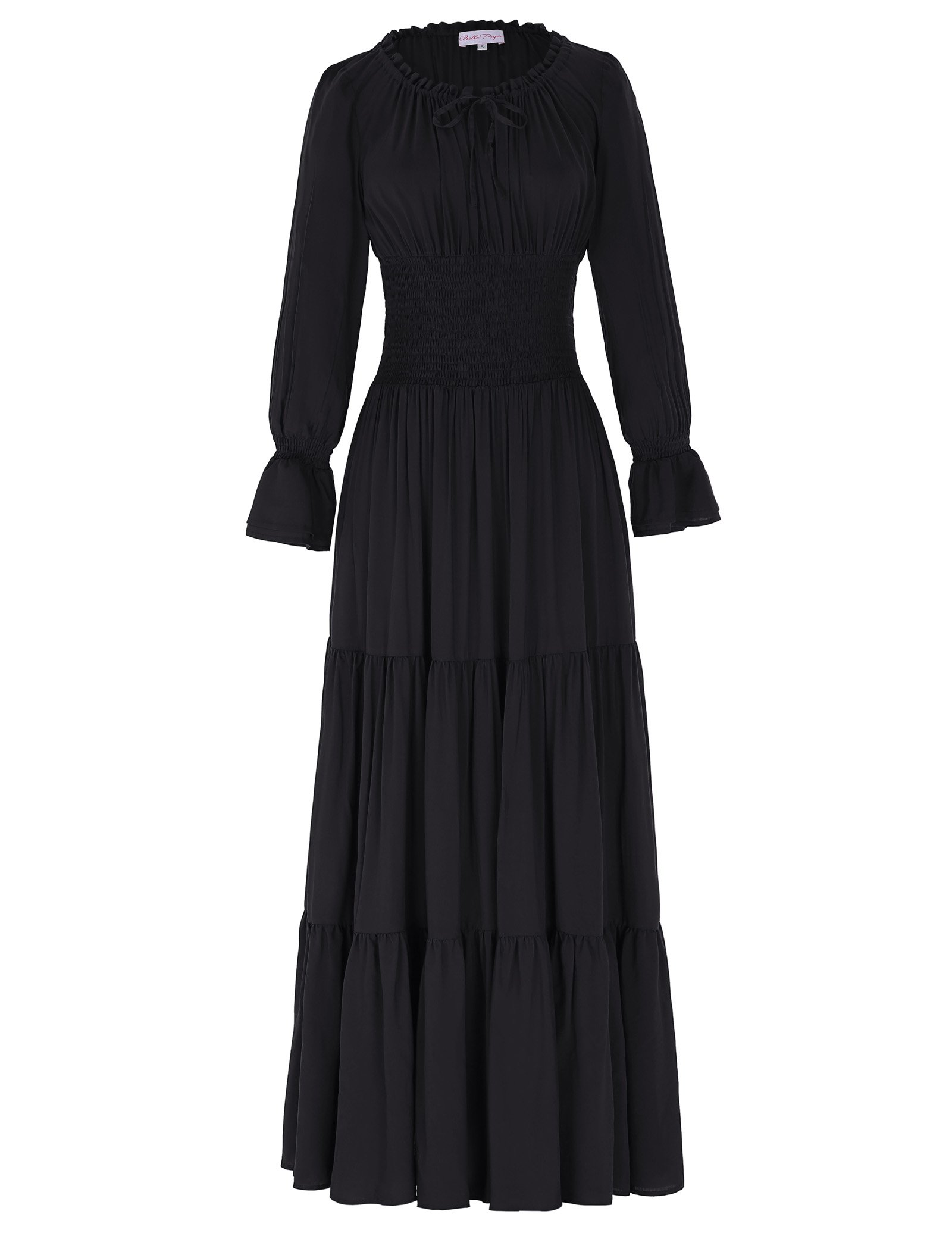 Belle Poque Women Long Sleeve Renaissance Pleated Maxi Dress 3