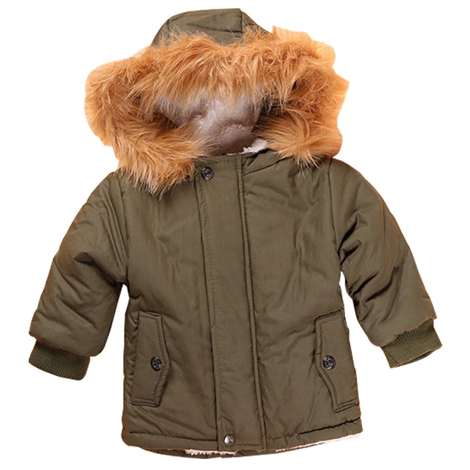Baby Boy s' Winter Warm Coat Hoodie Parka Outerwear Jacket (18-24Months, Army Green) by VIVIQ (Image #1)