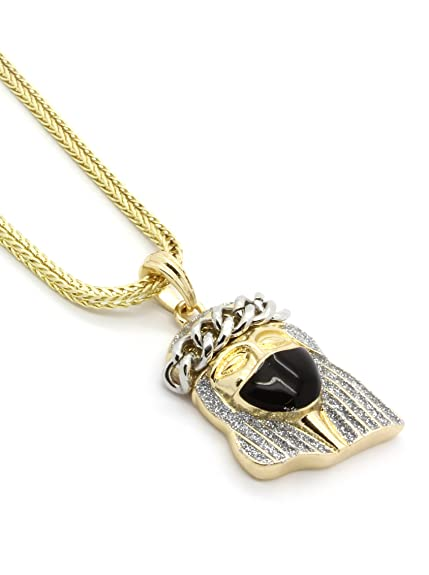 """Masked Jesus Silver Stardust Pendant 14k Gold Plated 30/"""" in Cuban Chain Necklace"""
