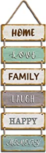 """Jeune Decor Large Rustic & Vintage Vertical Wooden Wall Hanging Sign for Home Decoration with a Quote(Home Love Family Laugh Happy Memory). 11.75"""" x 32"""""""
