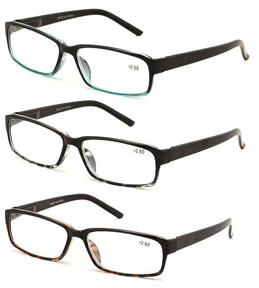 7cd21356e677 V.W.E. 3 Pairs Deluxe Rectangular Reading Glasses Spring Hinges Lightweight Comfortable  Reader