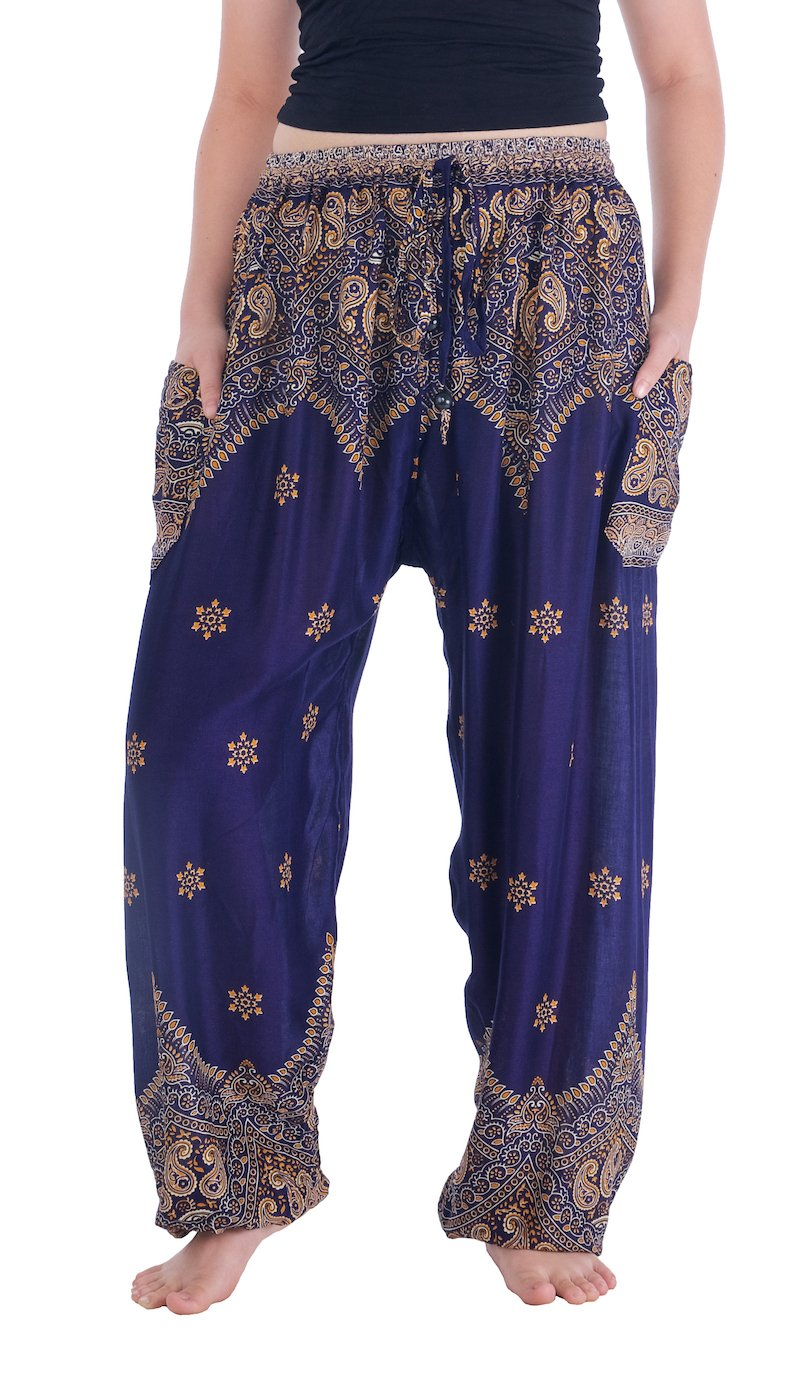 Lannaclothesdesign Women's Peacock Pants Drawstring Tassel Thai Boho Pants (M, Dark Blue Peacock Flower)