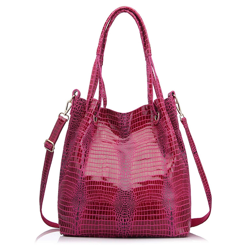 Hot Pink Genuine leather tote bag for women extra large capacity handbag big should messenger bag,Hot Pink,Large