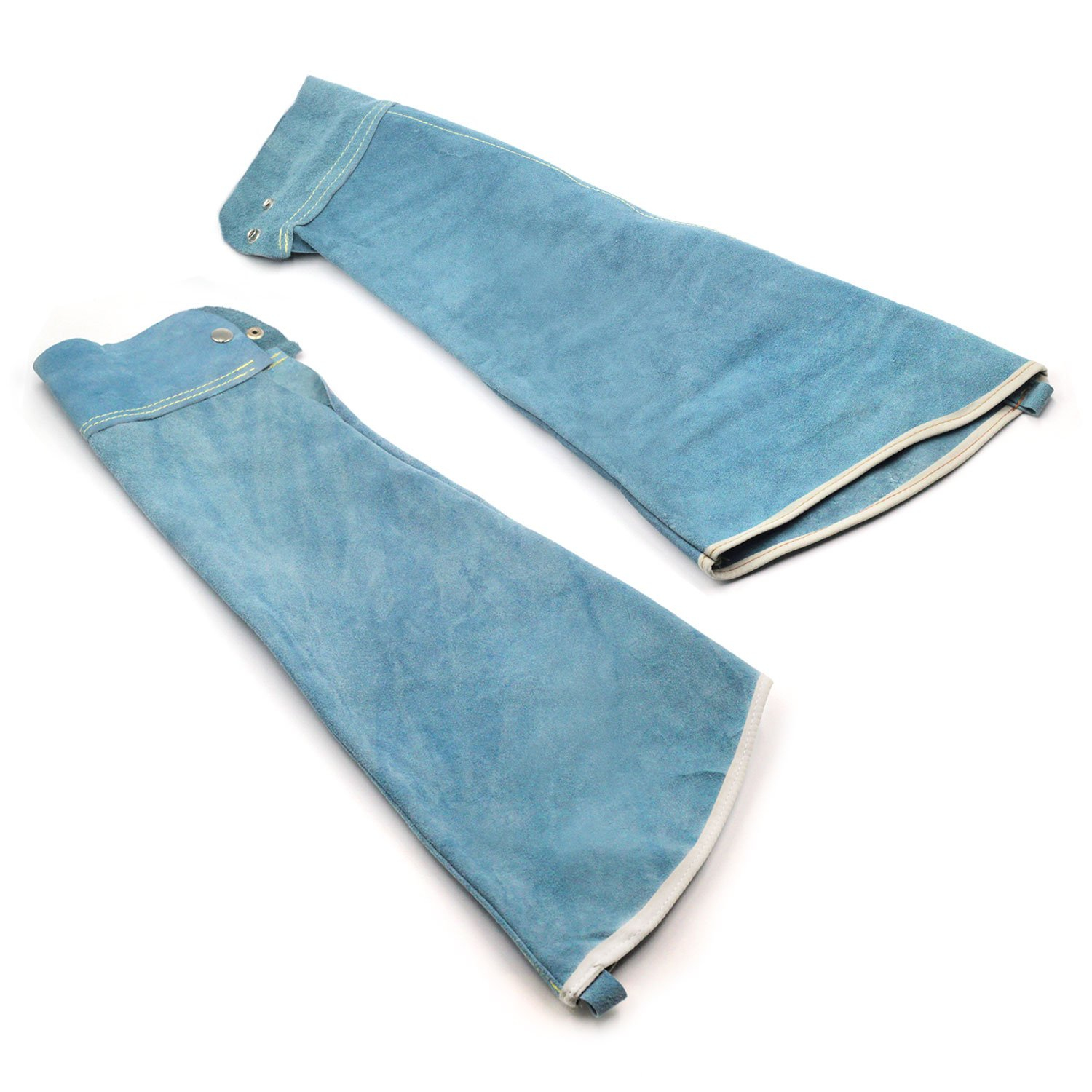 Heat Resistant Welding Sleeves,Leather Sleeves for welding, Button closure,Spark Resistant Protection,1 Pair (blue)