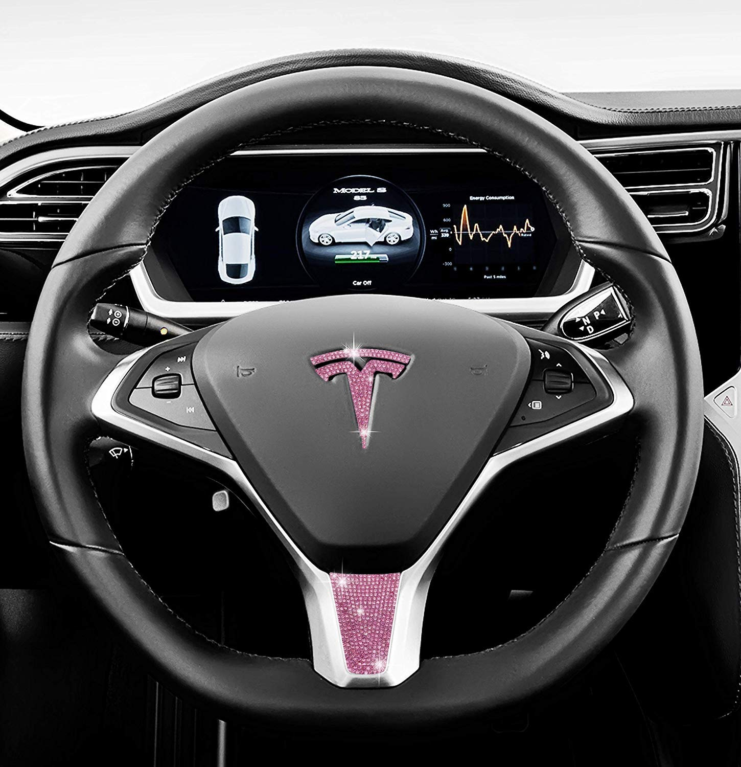 Be A Blinger Tesla Auto Accessory Steering Wheel Accessories Crystal Badge Bling T Logo Decal Handmade Rhinestone Emblem Decoration Cover Car Sticker Holiday Christmas Gift Box Baby Pink, Model X