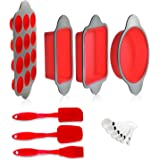 Silicone Baking Molds, Pans and Utensils (Set of 13) by Boxiki Kitchen | Silicone Cake Pan, Brownie Pan, Loaf Pan, Muffin Mol