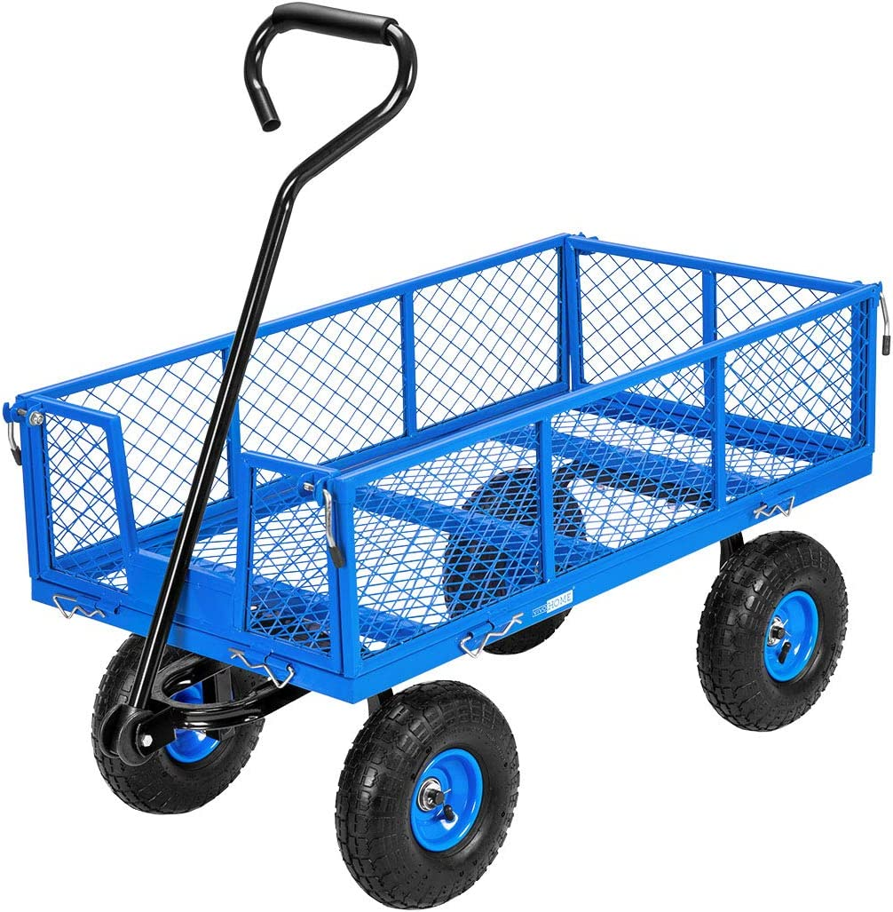 VIVOHOME Heavy Duty 1100 Lbs Capacity Mesh Steel Garden Cart Folding Utility Wagon with Removable Sides and 10 Inch Wheels (Blue)