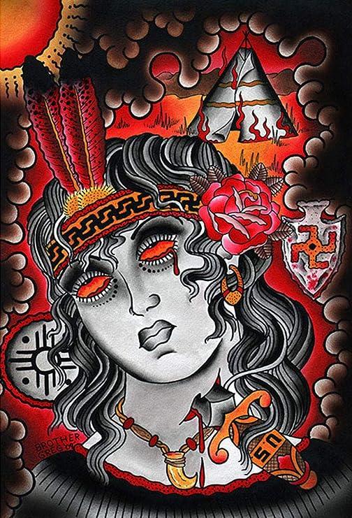 Nos daga por Brother Greg Native American Indian lucha tatuaje ...