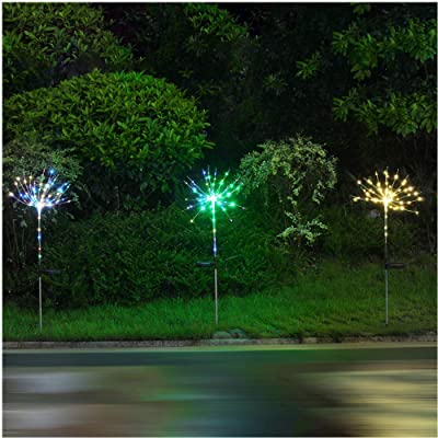 100LEDs Solar Firework Light, 2 Pack LED Copper Wire Strip String Fairy Light Soft Starburst Light Xmas Wedding Party Festival Outdoor Decoration DIY : Garden & Outdoor