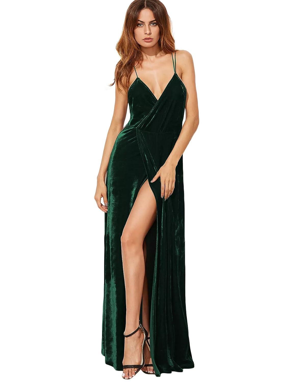 TALLA M. SOLY HUX Mujer Vestido Largo V Cuello de Terciopelo con Tirantes Sin Espalda para Fiesta Verde