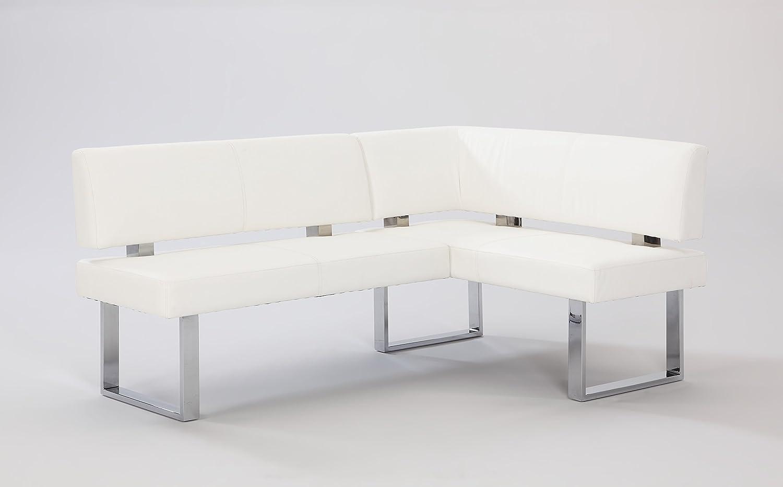 Amazon Com Chintaly Imports Pu Nook Bench Chrome White Furniture Decor