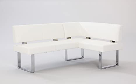 Chintaly Imports PU Nook Bench, Chrome/White