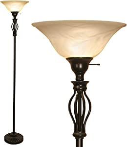 Scroll Floor Lamp for Living Room Decor by Light Accents - Tall Floor Lamp Bed Room Decor - Traditional Iron Scrollwork Standing Lamp Pole Light with Alabaster Glass Bowl Shade – 70