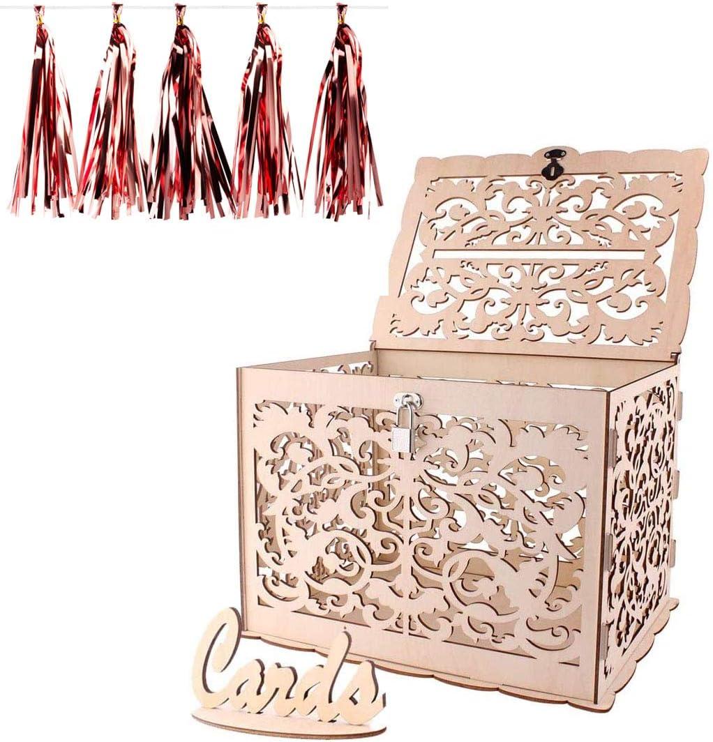 Caja de tarjetas de boda de madera, ANSUG Cajas de Regalo para Bodas Vintage con Cerradura Cajas de regalo de madera para bodas Duchas de bebé - 30 x 24 x 21 cm