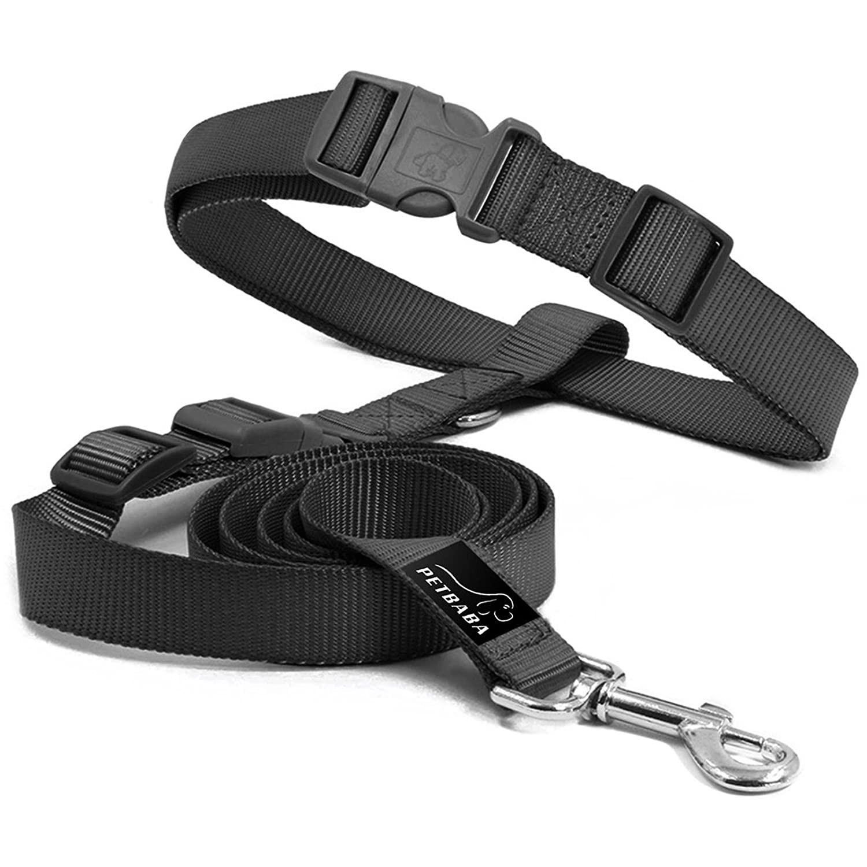 Laisse Mains Libres Jogging, PETBABA 90-150cm Longue Nylon Laisse de Dressage pour Chiens Noir