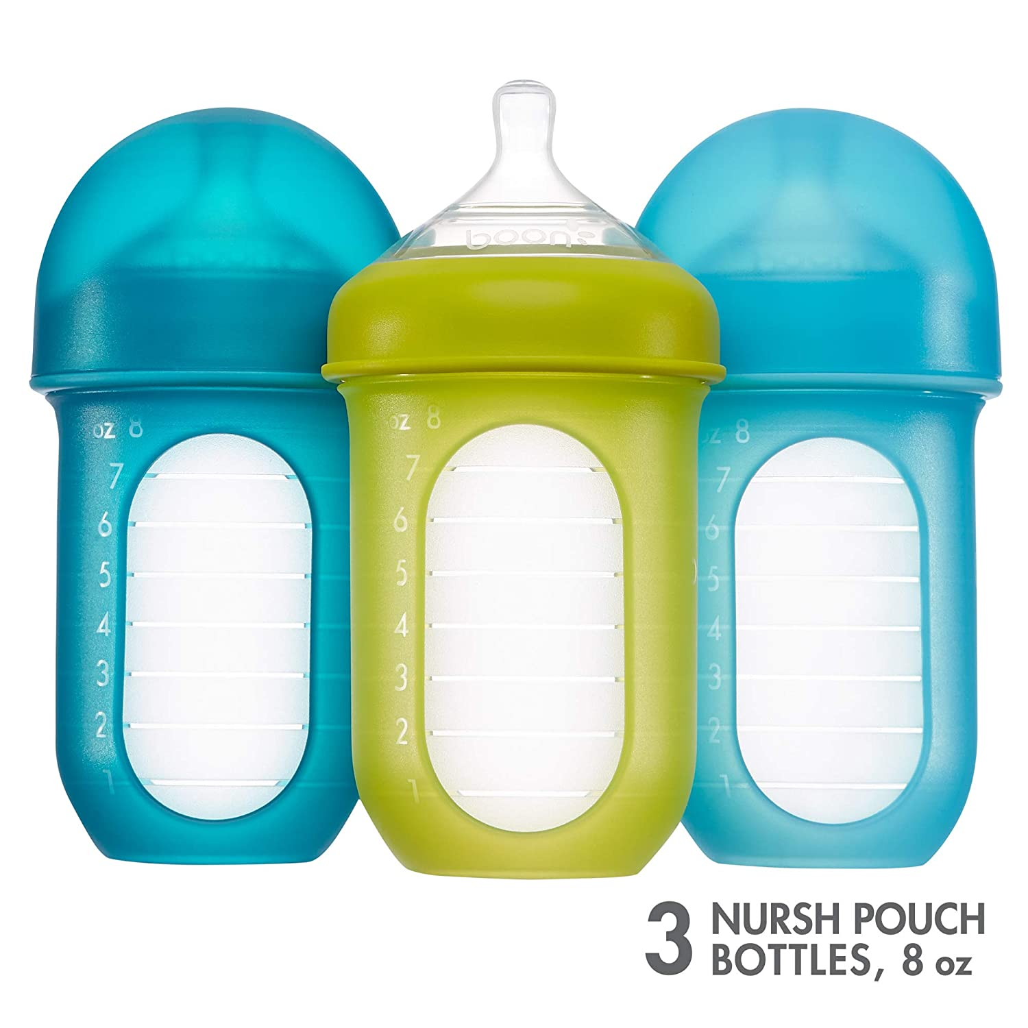 4 Ounce with Stage 1 Slow Flow Nipple Boon NURSH Reusable Silicone Pouch Bottle Air-Free Feeding Pack of 3
