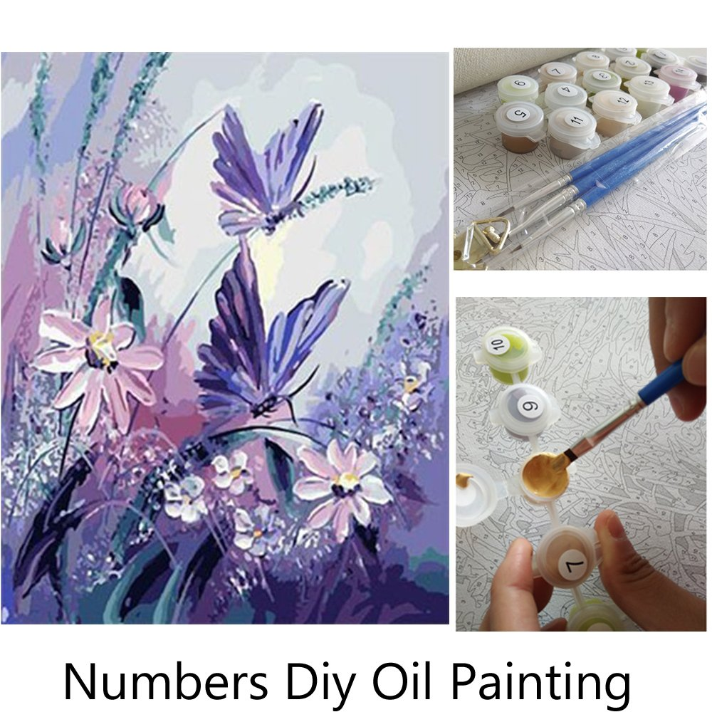 Aksuo Paint by Numbers Kits Diy Canvas Oil Painting for Kids, Students, Adults Beginner - A view of the window 16 x 20 inch with Brushes and Acrylic Pigment(With Framed) 165the window Frame