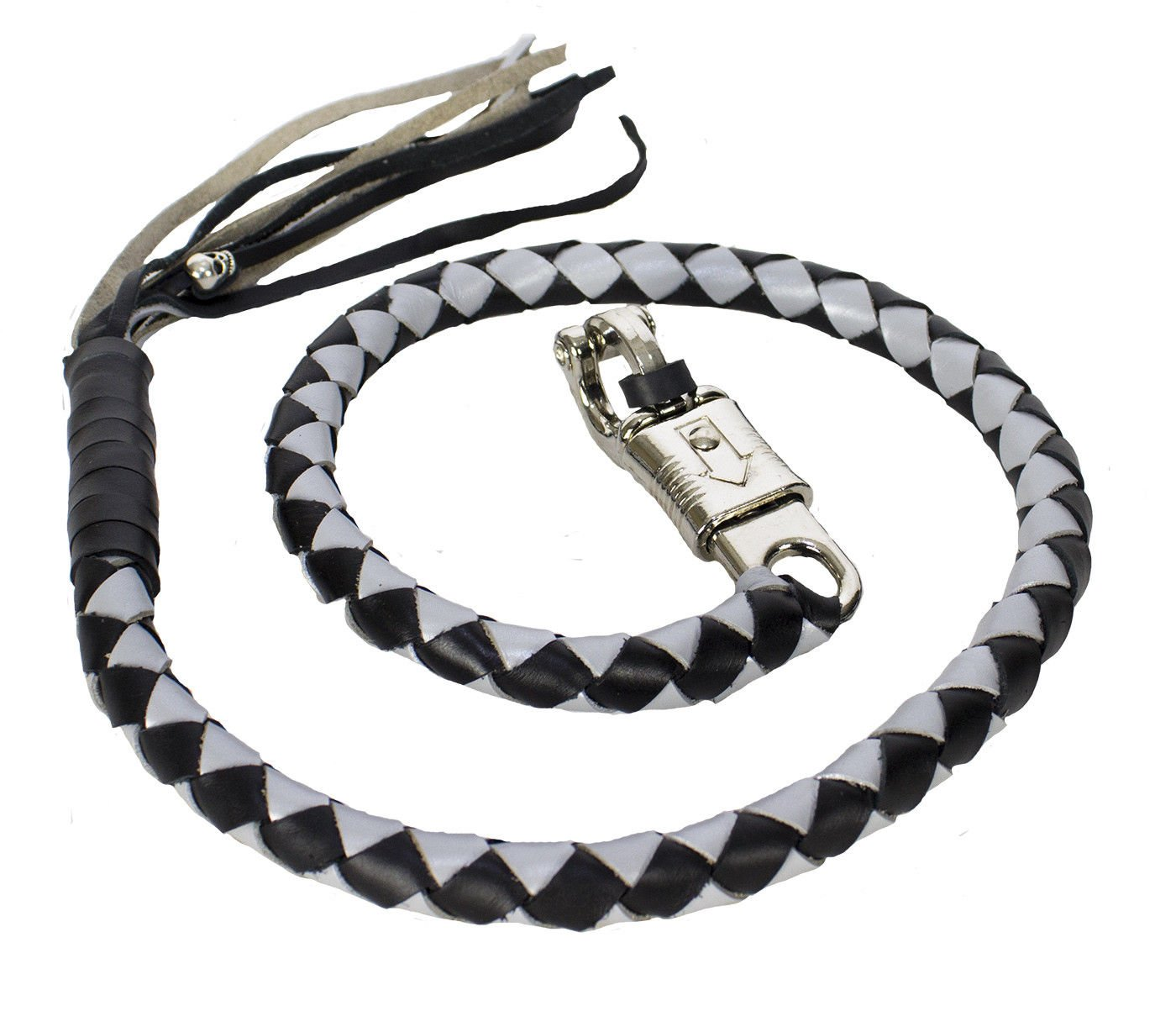 """42'' Long 1/2"""" Diameter Silver & Black Motorcycle Get Back Whip Real Soft Genuine Leather"""