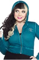 Teal Blue Curio Skull Cropped Hoodie from Sourpuss Clothing