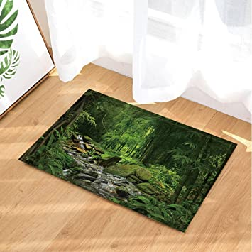 Gohebe Sommer Jungle Wald Bad Teppiche Moos Stein In Fluss Mit Baum