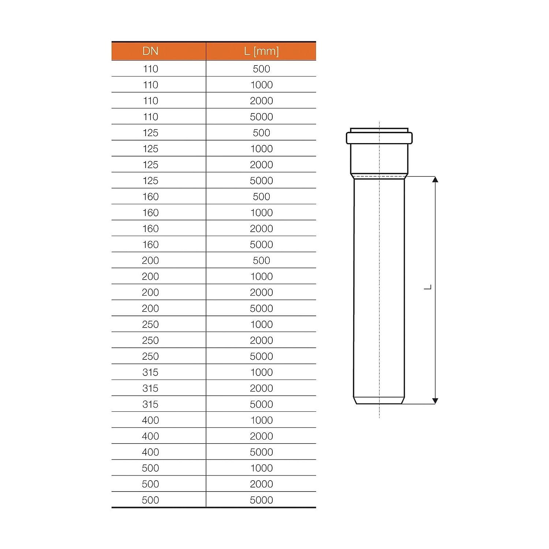KG Rohr DN 125 L/änge 500 mm