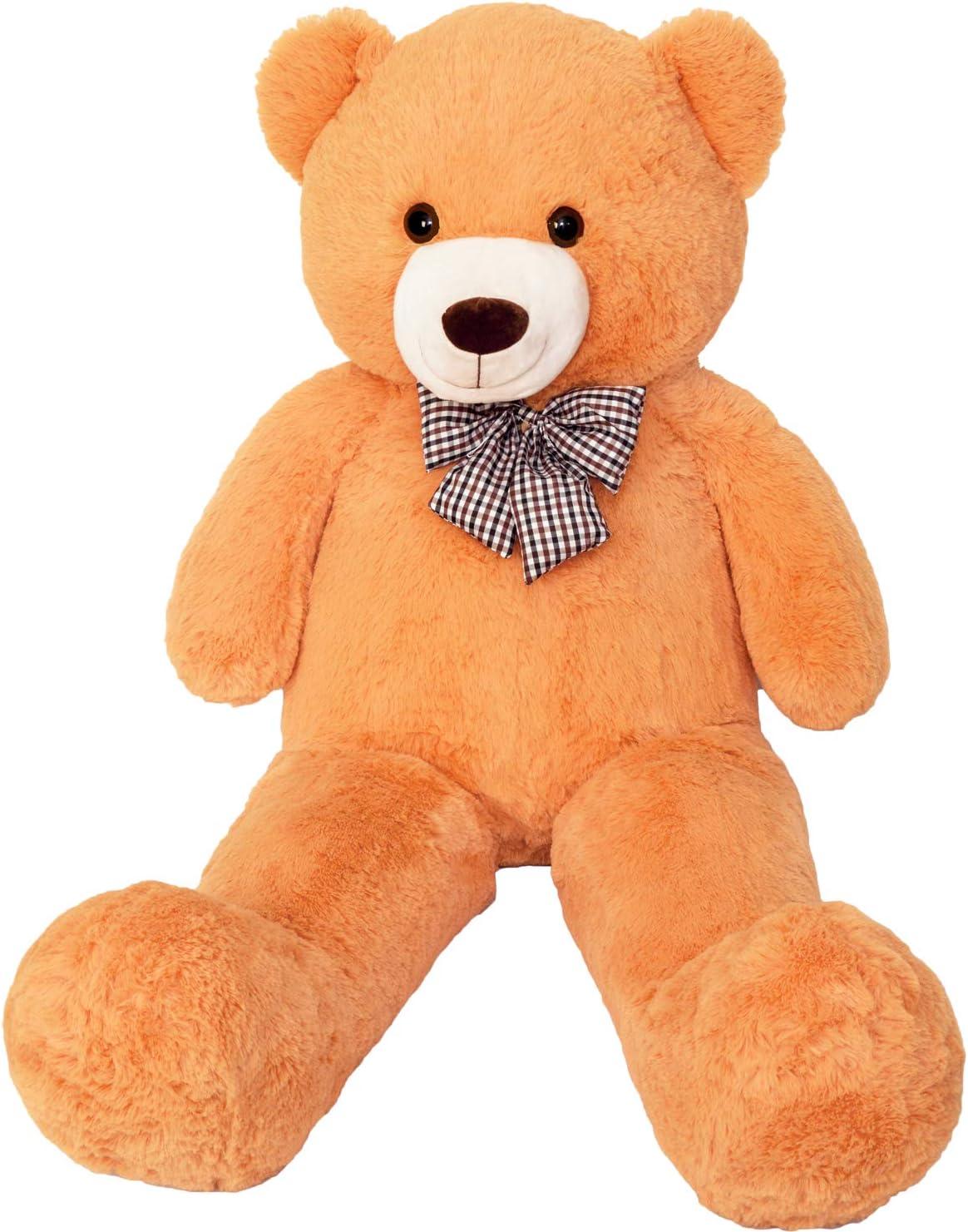 FSN Oso de Peluche Gigante Grande Teddy, 120cm Juguete de Peluche Osito Suave y Cariñoso Niños y Adultos Naranja