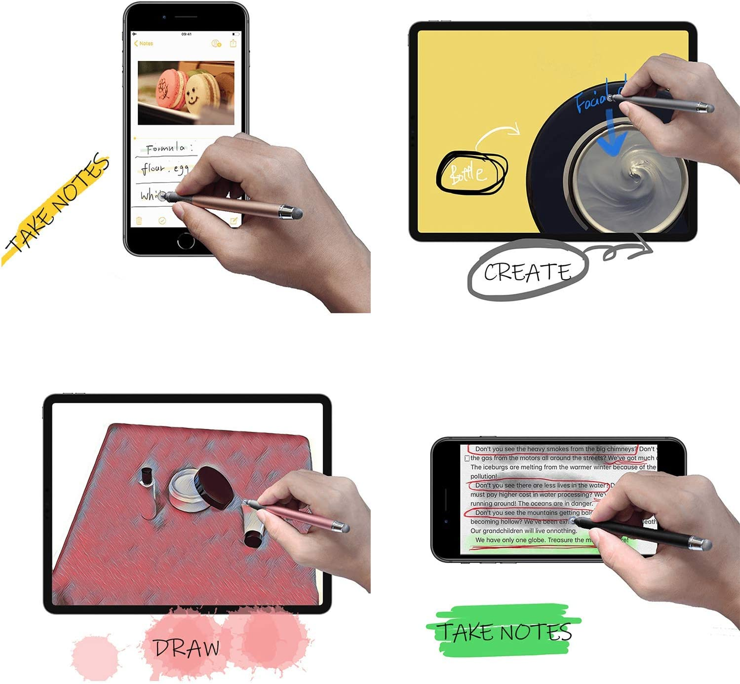Disc /& Fiber Tip 2 in 1 for iPad Kindle Gold High Sensitivity and Precision koovin Capacitive Stylus Pens iPhone,Android Phone,Android Tablet