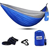 Double Camping Hammock with Tree Straps, Mersuii Lightweight Portable Parachute Nylon 2 Person Outdoor Hammock for Backpacking, Travel, the Beach and Your Backyard