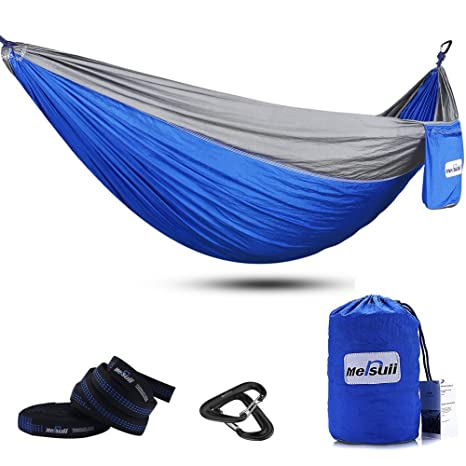 double camping hammock with tree straps mersuii lightweight portable parachute nylon 2 person outdoor hammock amazon    double camping hammock with tree straps mersuii      rh   amazon