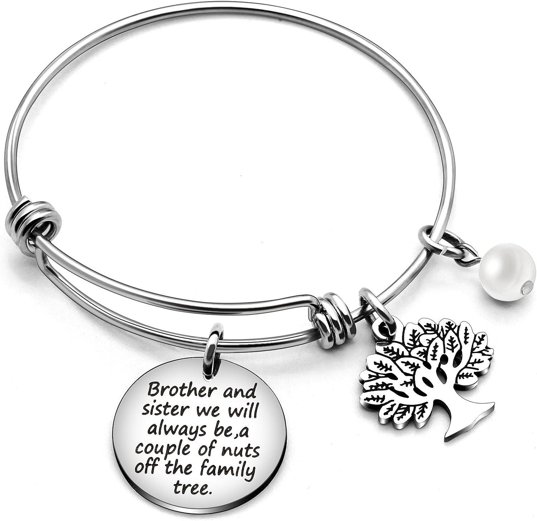 Pulsera para hermana, regalo familiar, hermano y hermana, seremos siempre una pareja de tuercas del árbol de la familia