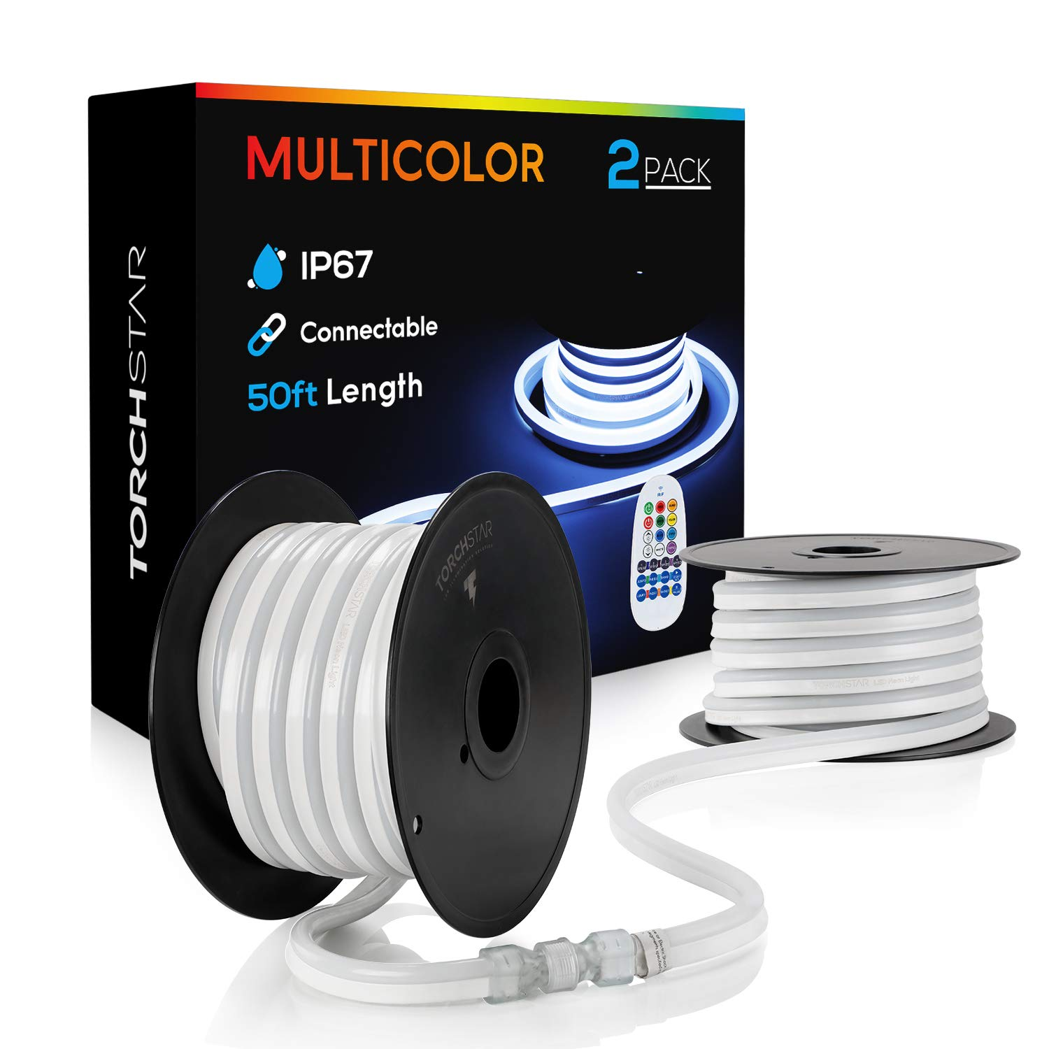 TORCHSTAR 50ft LED RGB Rope Light, 120V Flexible Strip Lights, IP67 Waterproof Neon Lighting, Multi Color Changing with Remote Controller, (100ft Max) Linkable for Indoor & Outdoor Decor, Pack of 2